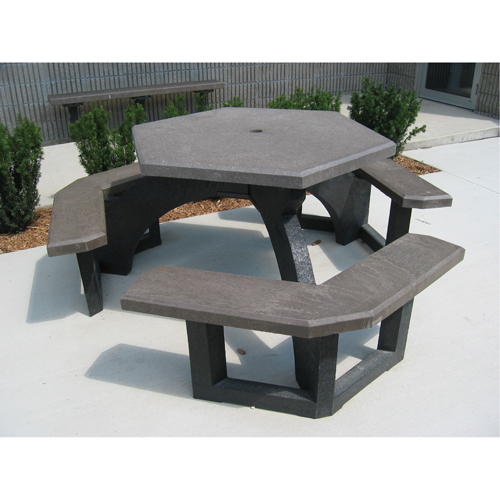 PLASTIC RECYCLING Recycled Plastic Hexagon Picnic Tables NJ BR - Recycled plastic hexagonal picnic table