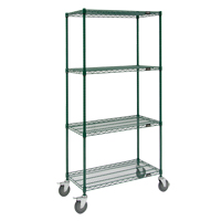 Green Epoxy Finish Wire Shelf Carts RL803 | NIS Northern Industrial Sales