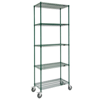 Green Epoxy Finish Wire Shelf Carts RL809 | NIS Northern Industrial Sales