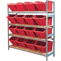 Wide Span Shelving with Jumbo Plastic Bins RL980 | NIS Northern Industrial Sales