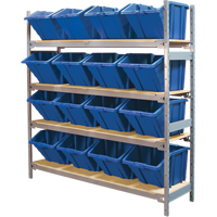 Wide Span Shelving with Jumbo Plastic Bins RL981 | NIS Northern Industrial Sales