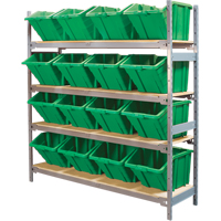 Wide Span Shelving with Jumbo Plastic Bins RL982 | NIS Northern Industrial Sales