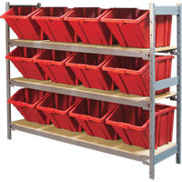 Wide Span Shelving with Jumbo Plastic Bins RL984 | NIS Northern Industrial Sales