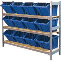 Wide Span Shelving with Jumbo Plastic Bins RL985 | NIS Northern Industrial Sales