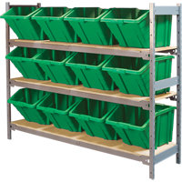 Wide Span Shelving with Jumbo Plastic Bins RL986 | NIS Northern Industrial Sales