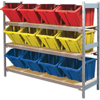 Wide Span Shelving with Jumbo Plastic Bins RL988 | NIS Northern Industrial Sales