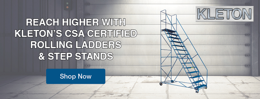 Reach higher with kleton's csa certified rolling ladders & step stands
